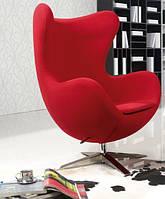 Кресло Эгг (Egg), мягкое, ткань, основание металл, цвет  красный