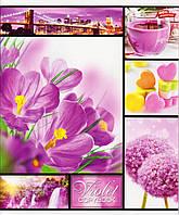 """Тетрадь 48 л.клетка """"Разноцветные цветы"""" 2283, фото 1"""