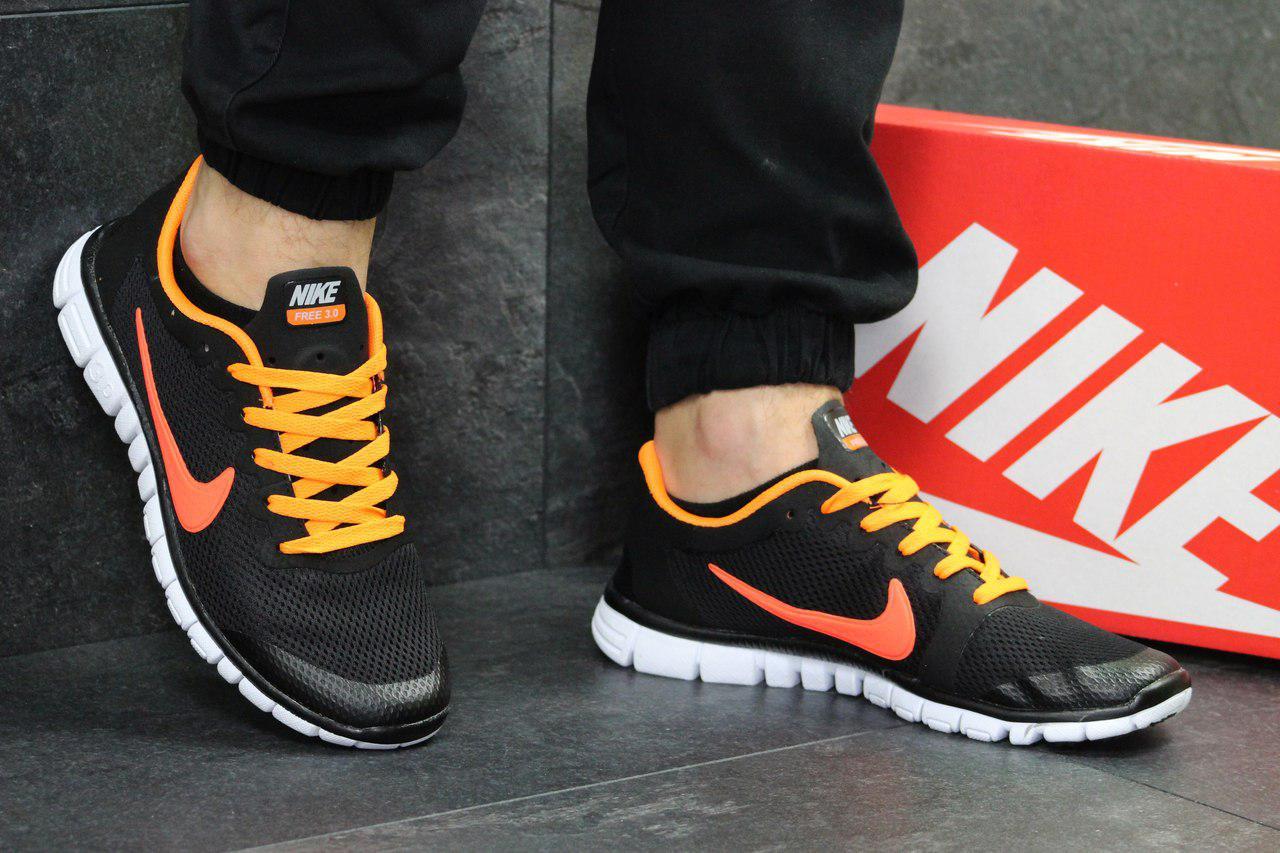 Мужские летние кроссовки Nike Free Run 3.0 черные с оранжевым 41,44