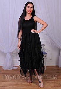 Платье летнее юбка с атласными листочками 739