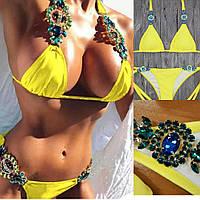 Купальник бикини желтый с камнями, 4 цвета