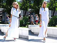 """Длинное летнее платье """"Betti"""" с поясом, карманами и разрезами по бокам (6 цветов)"""