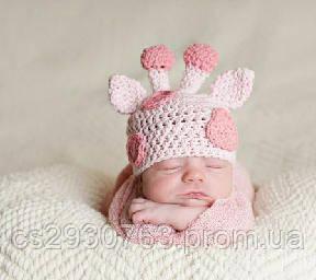 вязаная шапка ручной работы для новорожденного жираф цена 130 грн