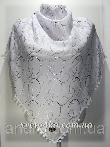 Нарядный натуральный платок кольца,белый