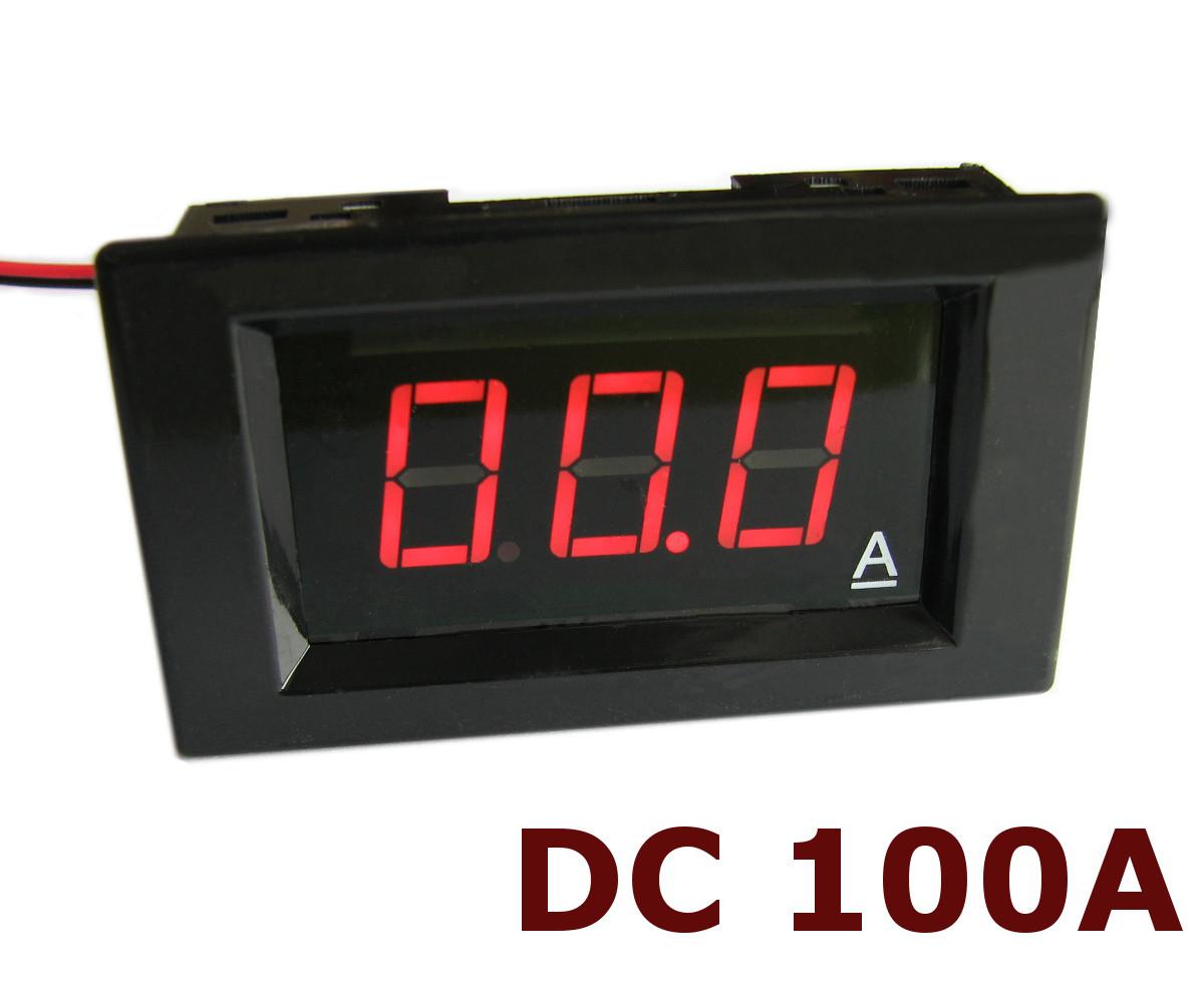 Амперметр постоянного тока до 100А DC цифровой встраиваемый A85DC Красный + шунт