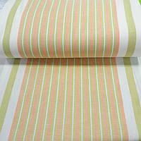 Лён полотенечный с оранжевой и салатовой полоской, ширина 50 см