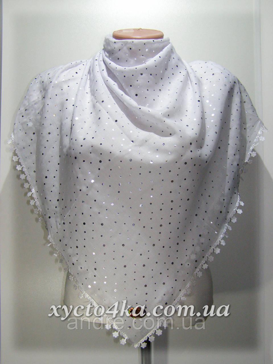 Нарядный натуральный платок, горошки