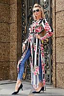 Женская удлиненная рубашка-туника с цветочным рисунком, фото 1