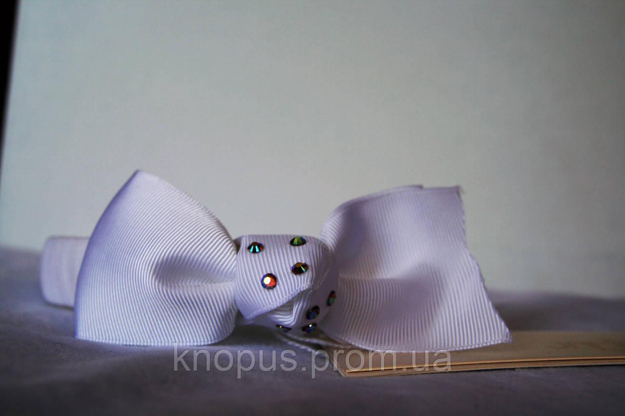 Ободочек белый для маленькой девочки Бантик, Jamiks (Польша)