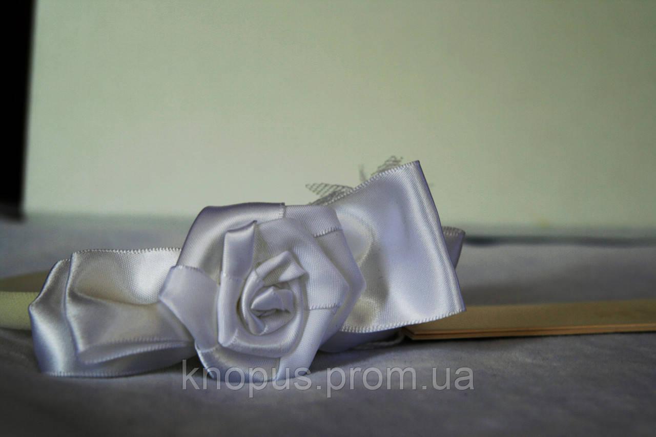 Ободочек белый для маленькой девочки Розочка, Jamiks (Польша)