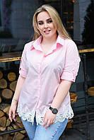 Женская стильная рубашка с ажурным кружевом по низу Батал, фото 1