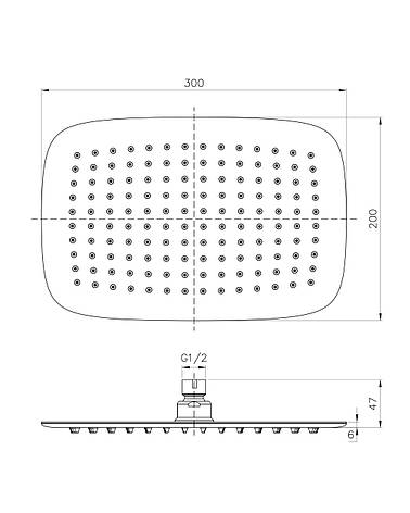 Душ верхний (300х200) мм , сталь, фото 2