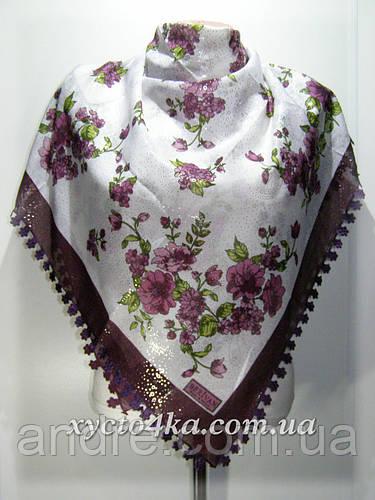 Турецкий натуральный платок Сияние белый с сиреневым