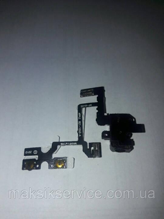 Шлейф Apple iPhone 4 c кнопками громкости и разъемом наушников Black