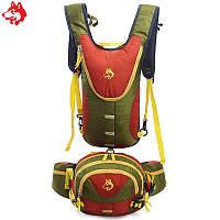 Рюкзак для гидратора  с сумкой на пояс зеленый, фото 1