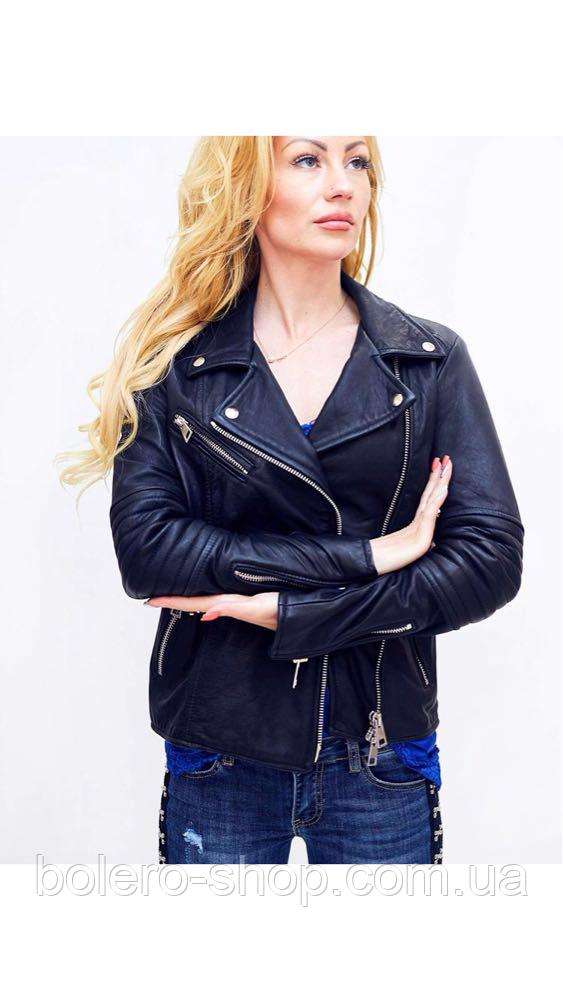 Куртка черная женская кожаная