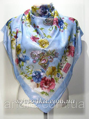 Турецкий натуральный платок Напыление, голубой