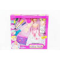 Кукла  Юнный Модельер  904 (кукла, платье-раскраска,фломастеры,трафареты)