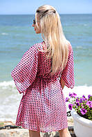 Женская короткая пляжная туника в горошек, фото 1