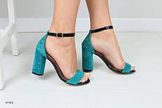 Женские замшевые босоножки на каблуке с бусинами, изумруд, р.36-40