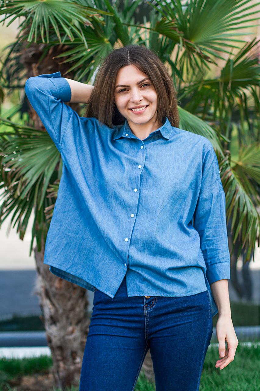 Голубая женская рубашка с длинным рукавом, размеры S - XL