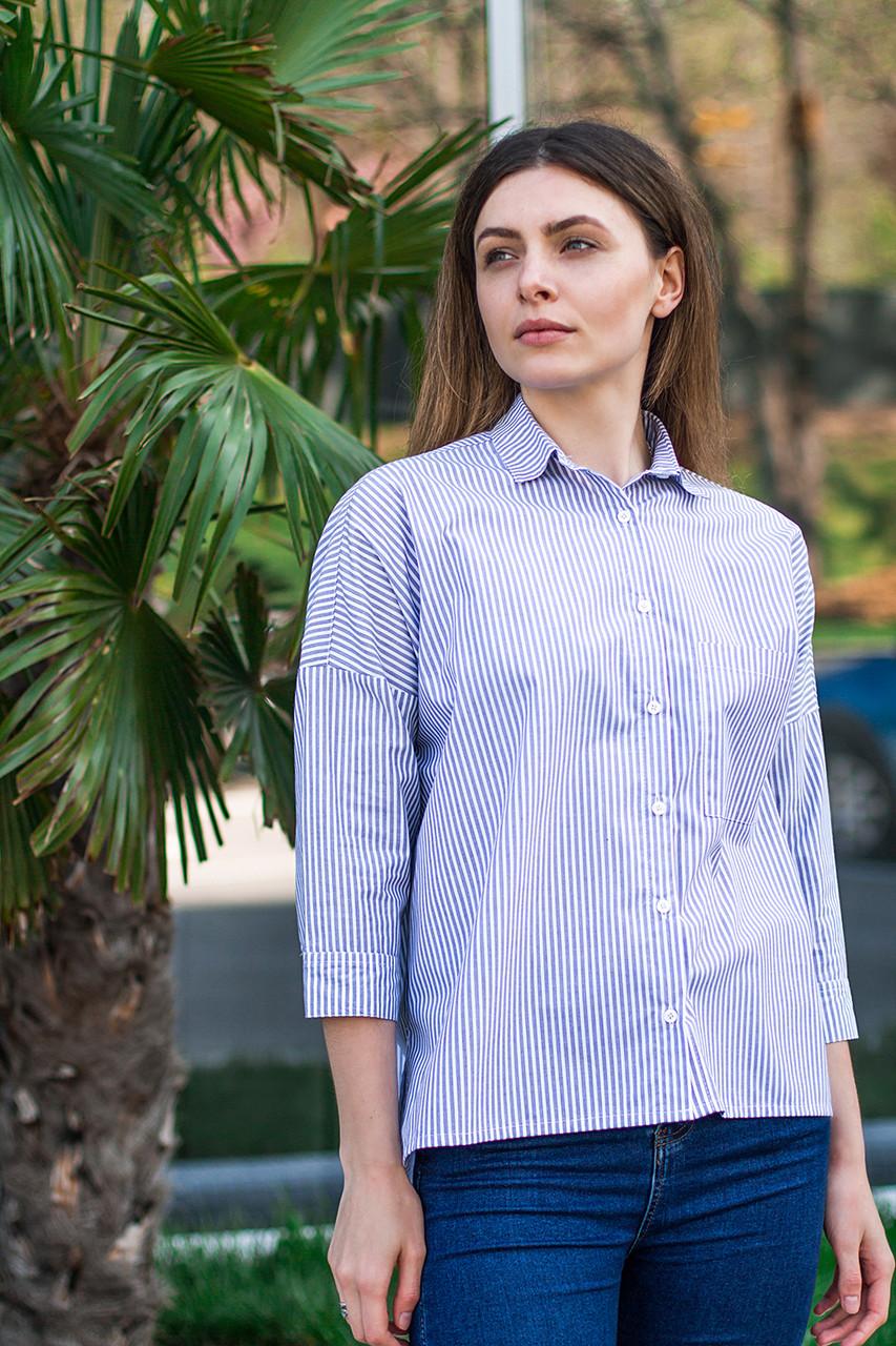 Женская рубашка в полоску светло-голубая, рукав 3/4, размеры S - XL
