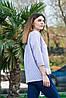Женская рубашка в полоску светло-голубая, рукав 3/4, размеры S - XL, фото 2