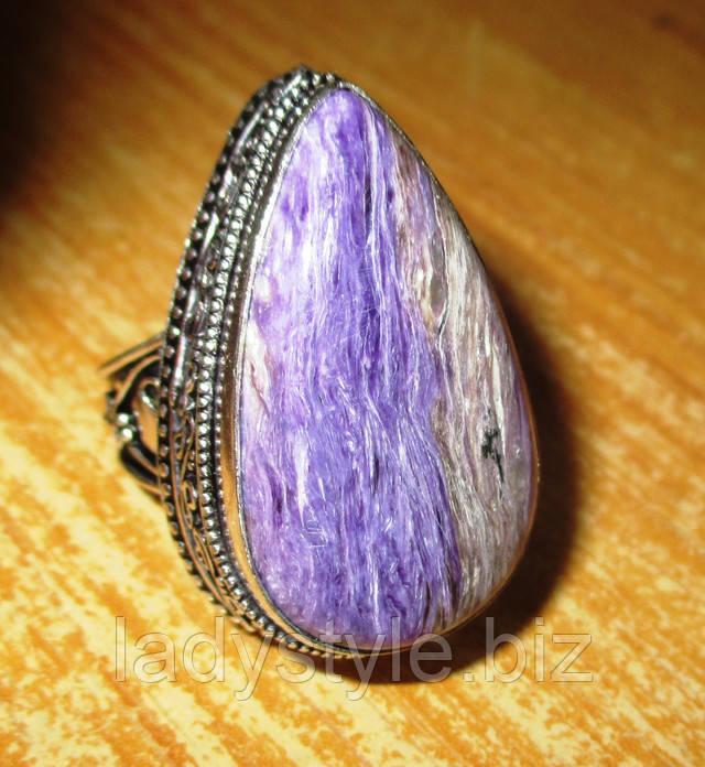 купить украшения с натуральным чароитом серебро  перстень с голубым агатом  кольцо серьги