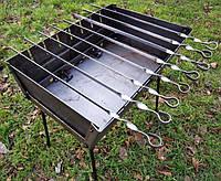 Складной мангал чемодан 8 шампуров, толщина стали 2 мм, для похода или дачи