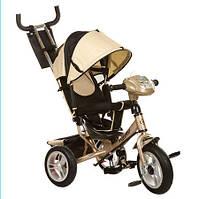 Велосипед трехколесный m 3115-7ha  колясочный резиновые колеса музыка свет бежевый hn