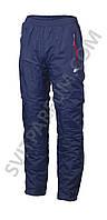 Спортивные брюки из плащевки на флисе мужские, зима (реплика)