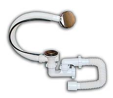 """Сифон автомат ванна нержавіючий випуск і перелив 1 1/2"""" Flat Steamer"""