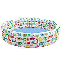 Детский надувной бассейн «разноцветный всплеск» intex 56440 (168х40 см) kk