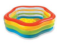 Детский надувной пятиугольный бассейн «морская звезда» intex 56495 (185x180x53 см) кк hn