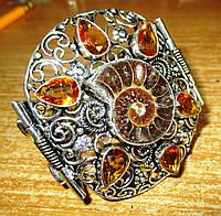 Шикарный манжет браслет с аммонитом и цитринами от студии LadyStyle.Biz, фото 1