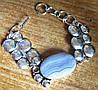"""Элегантный серебряный браслет с  агатом сапфирином """"Мыльные пузыри"""" от студии LadyStyle.Biz"""
