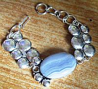 """Элегантный серебряный браслет с  агатом сапфирином """"Мыльные пузыри"""" от студии LadyStyle.Biz, фото 1"""