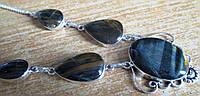"""Серебряное колье с соколиным глазом """"Темные капли"""" от LadyStyle.Biz, фото 1"""