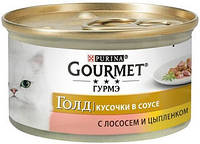 618674 Gourmet Gold Кусочки в подливке с лососем и цыпленком, 85 гр