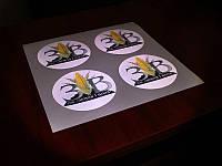 Печать наклеек на светоотражающей пленке, 1440 dpi (Нанесение пленки: Без прикатки на поверхность; )