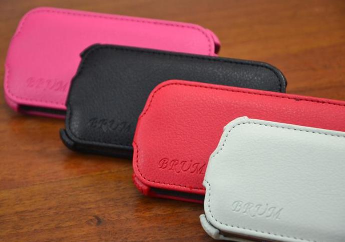 Кожаный чехол-флип BRUM для Samsung S3 mini i8190 черный