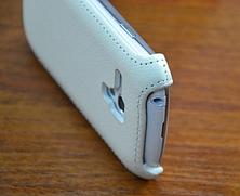 Кожаный чехол-флип BRUM для Samsung S3 mini i8190 белый, фото 3