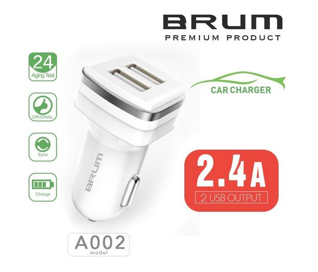 Автомобильное зарядное, АЗУ BRUM BM-A002 (2USB 2.4A) белый
