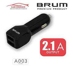 Автомобильное зарядное, АЗУ BRUM BM-A003 (2USB 2.1A) черный