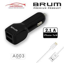 Автомобильное зарядное, АЗУ BRUM BM-A003 (2USB 2.1A) + кабель Lightning (iPhone 5/6/7/8/X) черный