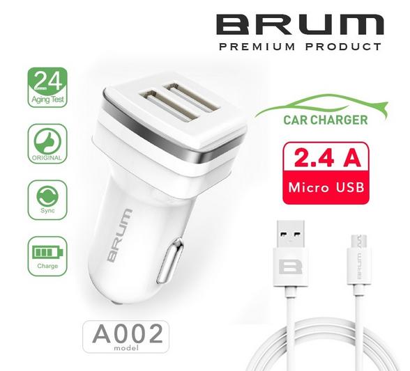 Автомобильное зарядное, АЗУ BRUM BM-A002 (2USB 2.4A) + кабель Micro USB белый