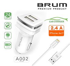Автомобільний зарядний, АЗУ BRUM BM-A002 (2USB 2.4 A) + кабель Lightning (iPhone 5/6/7/8/X) білий