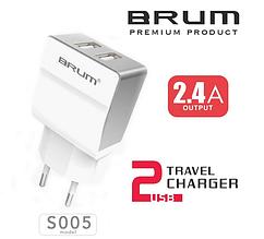 Сетевое зарядное устройство, СЗУ, адаптер BRUM BM-S005 (2USB 2.4A) белый