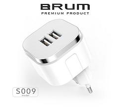 Сетевое зарядное устройство, СЗУ, адаптер BRUM BM-S009 (2USB 2.4A) белый