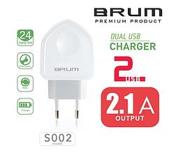 Сетевое зарядное устройство, СЗУ, адаптер BRUM BM-S002 (2USB 2.1A) белый